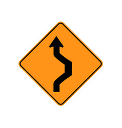 Usa traffic road sign double reverse curve vector