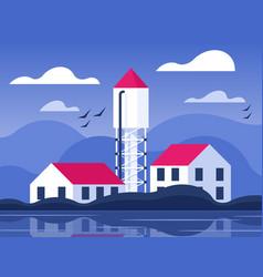 Water tower in village vector