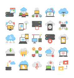 Web hosting and cloud computing flat icons pack vector