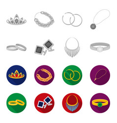 Wedding rings cuff links diamond necklace women vector