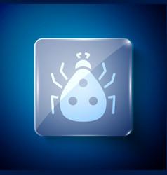 White ladybug icon isolated on blue background vector