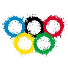 With ink blots olympic rings vector