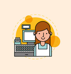 young woman is near the cash register vector image