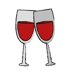 Drawing two glass red wine drink vector
