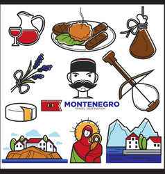 montenegro culture and landmarks icons vector image