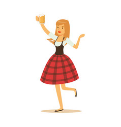 pretty waitress in a red bavarian traditional vector image