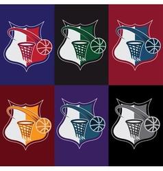 set of vintage basketball crests vector image
