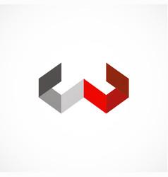 shape letter w shape business company logo vector image