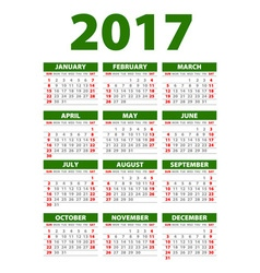 Calendar for 2017 Week Starts Monday vector image vector image
