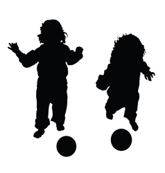 child with ball in black vector image