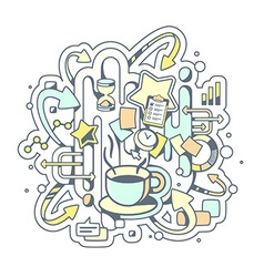 color of coffe break and office work on ligh vector image