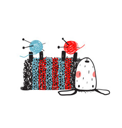cute sheep knitting wearing sweater vector image