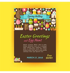 Happy easter holiday template poster flat style vector