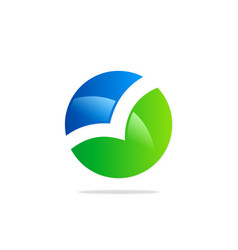 round bio colored technology logo vector image