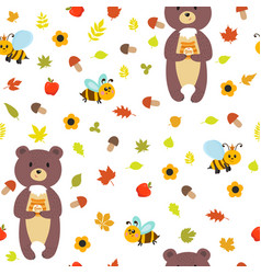 seamless pattern with bears and bees cute vector image vector image