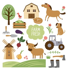 farm animals and related it vector image vector image