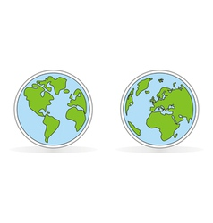 Hand drawn planet earth with both globes vector image vector image