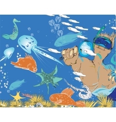 Man And Snorkeling vector image vector image