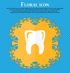 Tooth icon Floral flat design on a blue abstract vector image vector image