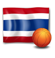 A ball in front of the flag of Thailand vector image