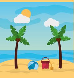 beach palm tree ball bucket and shovel sand sunny vector image