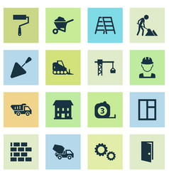 building icons set collection of truck measure vector image