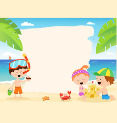 cute summer kids with blank paper vector image vector image