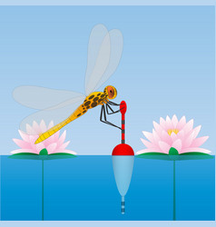 Dragonfly sitting on the float water lily water vector