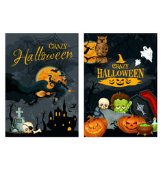 halloween poster with pumpkin ghost and witch vector image