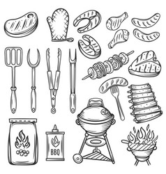 hand drawn barbecue icons set vector image