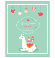 invitation for baby shower with funny lama vector image vector image