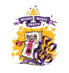 Retro music party poster vector