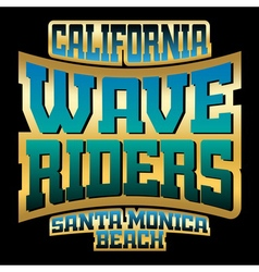 Wave riders t shirt typography graphics gold vector image
