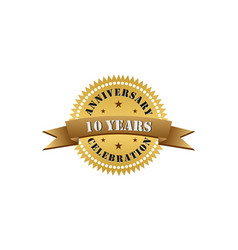 10 years anniversary celebration gold logo vector