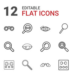 12 optical icons vector image