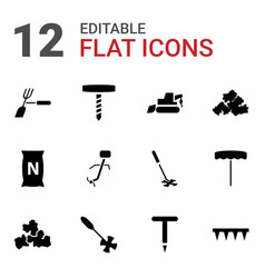 12 soil icons vector