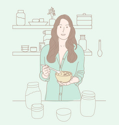 a women having breakfast in kitchen vector image