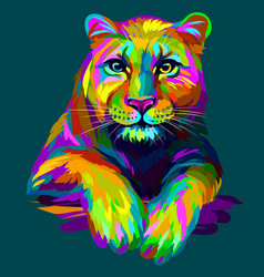 abstract in neon colors portrait a lioness vector image