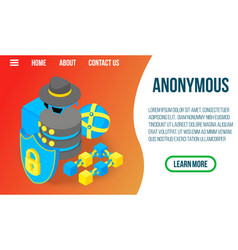 Anonymous concept banner isometric style vector