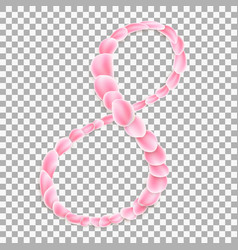 arabic numeral eight from pink petals eps 10 vector image