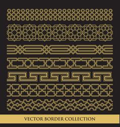 arabic seamless geometric golden border with vector image