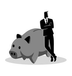 banker leaning on giant piggy bank vector image