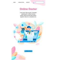 Banner online doctor writes prescription treatment vector