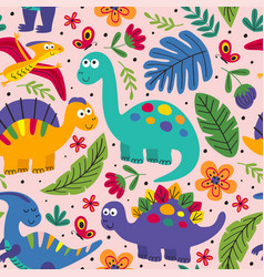 Basic rgbpink seamless pattern with cute dinosaurs vector