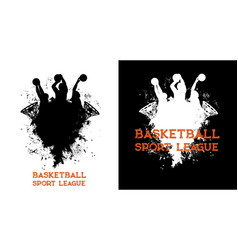 Basketball league players and ball in basket hoop vector