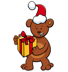 bear with gift on christmas time vector image