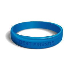 Best friends blue plastic wristband vector