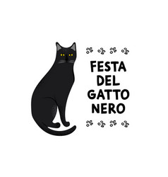 black cat festival greeting card vector image