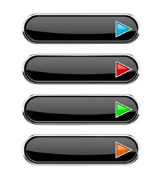 Black glossy buttons with colored arrows oval vector