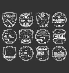 Blacksmith icons iron work workshop steel forging vector